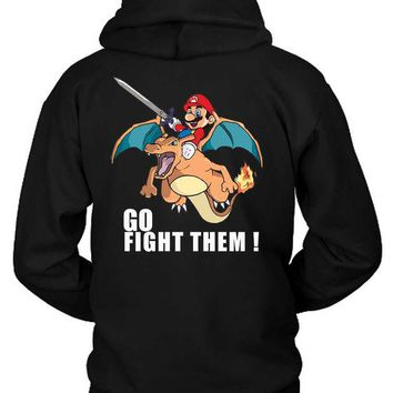 LMFH9S Pokemon And Mario Charizard Fire Hoodie Two Sided