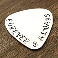 Forever and Always Guitar Pick Hand Stamped Mens Gift Husband Gift For Him Music Gift Guitar Gift Husband Gift Guy Gift Husband Valentines Guitar Pick