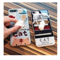 3D Soft lazy cat phone Cases For iphone