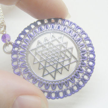 Sri Yantra Necklace, Shree Yantra Necklace, Reiki Necklace, Good Luck Pendant, Abundance Amulet, Meditation Jewelry, Reiki Jewelry Abundance