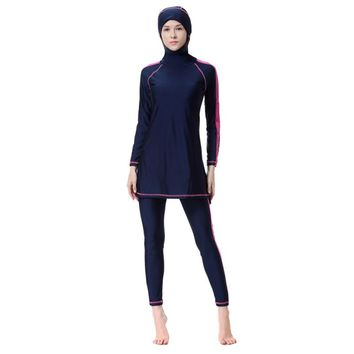 Women New Muslim Set Swimsuit Sunscreen Islamic Ladies' Swimwear Modest Patchwork Long Sleeve Muslim Clothes