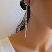 Earrings Chain Feather Charms Silver