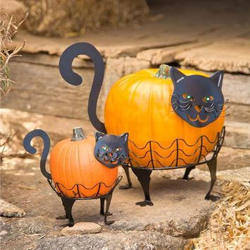 Set of 2 LED Eyes Metal Cat Pumpkin Holders