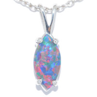 1.5 Carat Black Opal Marquise Pendant .925 Sterling Silver Rhodium Finish White Gold Quality