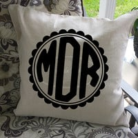 Framed Monogram Initial Pillow Cover