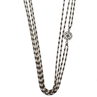 AKIRA Body Chain | Long Necklace - Gunmetal with Silver