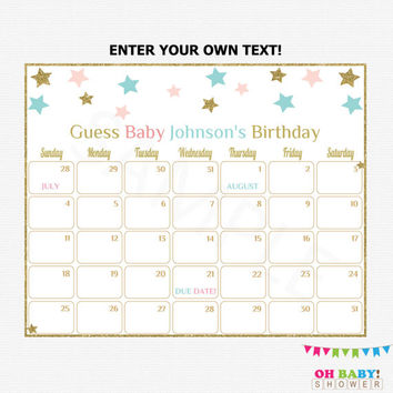 Due Date Calendar Gender Neutral Baby Shower Twinkle Twinkle Little Star Guess Baby's Birthday Editable Printable Girl Boy Download STPBG