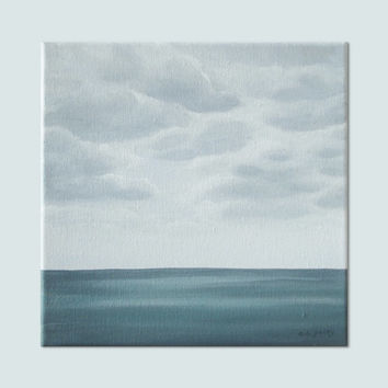 "Original Ocean Painting, Gray Sea, Ocean Art, Blue Grey Seascape Fine Art, Cloudy Skyscape, Slate Gray Ocean Art, Clouds, Acrylic 10"" X 10"""
