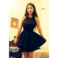 Black Pleated Chiffon Mini Dress
