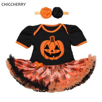 Pumpkin Baby Halloween Costumes Infant Party Dress Headband Vestido Bebe Fashion Girls Halloween Outfits Toddler Girl Clothing