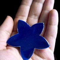 Brooch/Pin- Ceramic star bright blue brooch- Colorful ceramic jewelry-Fashion Accessories- Unique glamorous pin.