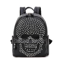 new Bailar tread diamonds skull women backpacks for teenage girls PU Leather rock punk school travel Bag free shipping