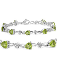 Peridot and White Topaz Infinity Link Tennis Bracelet in Sterling Silver Measuring 7.5 In. 7 ctgw