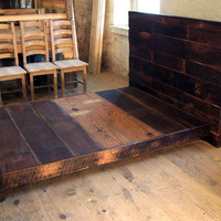 Asian Style Low Platform Bed from Reclaimed Wood