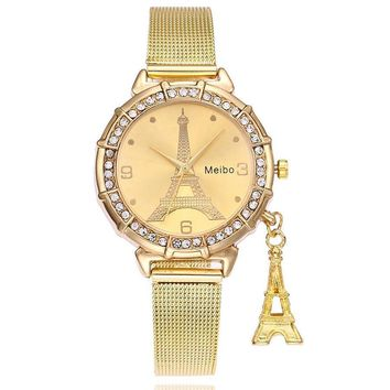 Fashion Women Eiffel Tower Stainless Steel Quartz Wrist Watch