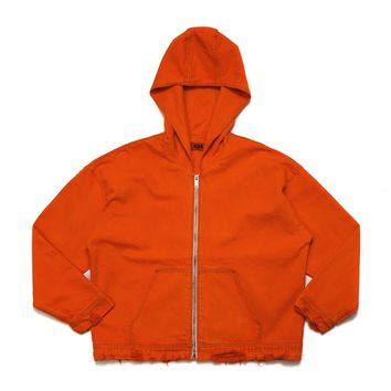 ORANGE DENIM HOODED JACKET