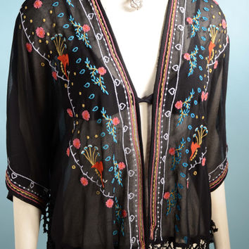 90s Black Fringe Embroidered Boho Kimono Top/Music Festival Sheer Hippie Ethnic Wrap/Hipster Brooklyn Flea Top One Size