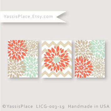 Flower Wall art Coral, Mint, Khaki, Floral Home Decor Nursery Artwork Dahlia Chevron Print set Baby Decor YassisPlace  LICG-004