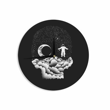 "BarmalisiRTB ""Space Skull"" Black White Illustration Wall Clock"