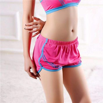 Quick-Drying Elastic Waist Candy Color Running Shorts
