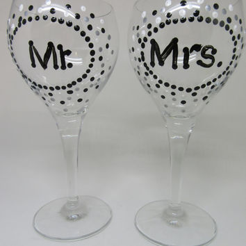 Hand Painted MR. and MRS. Stemware Wine Glasses - Black White and Silver Polka Dots - SET of 2