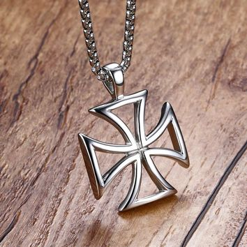 Vnox Men's Maltese Cross Pendant Necklace