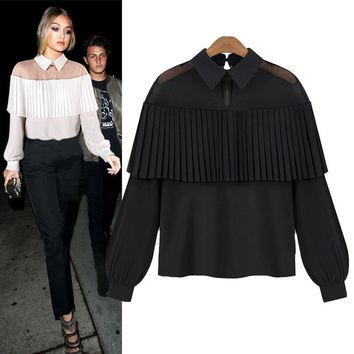 2018 Spring Summer Off Shoulder Women Blouse Cape Loose Pleated White Black Tops Chiffon Blouse Sexy Mesh Shirt Club Wear