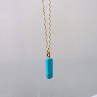 Turquoise bar pendant necklace - gold filled necklace-Ultramarine