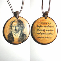 Pendant Necklace Hot Fashion Jewelry Choker Bib Chunky Statement Collar Pendant Jewelry Necklace Wood Slice Pendant Beethoven Necklace Quote