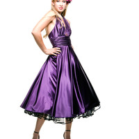 1950s Style Purple Marilyn Satin Halter Dress
