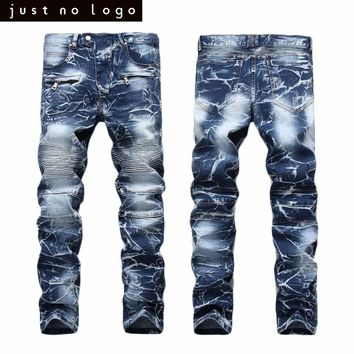 Mens Denim Biker Jeans Skinny Straight Slim Fit Denim Pants Casual Long Sleeve Distressed Jeans Trouser for Men
