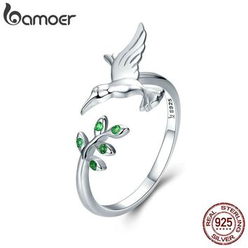 Authentic 925 Sterling Silver Bird & Spring Tree Leaves Open Size Finger Rings