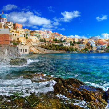 Beautiful Greek Islands Series - Syros Premium Poster by Maugli-l at Art.com