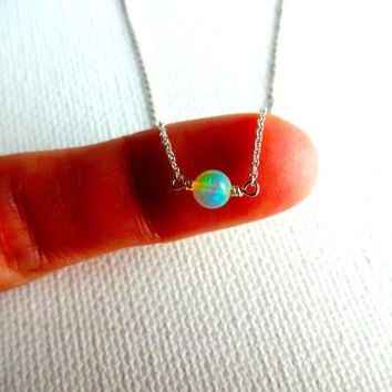 High Color Play Micro Ethiopian Welo Opal Handmade Solitaire Necklace & 925 Sterling Silver or 14k Gold Fill Chain Unique Gift for Her