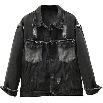 Spring Women Ripped Holes Balck Coat Jeans Jacket Autumn Loose Fit Casual Boyfriend Style Chaqueta Mujer Denim Jacket