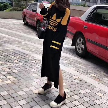 DCCKVQ8 Adidas' Women Fashion Casual Multicolor Clover Letter Embroidery Long Sleeve Maxi Dress