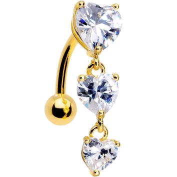 Clear CZ Gem Gold Plated Tri Heart Top Mount Dangle Belly Ring