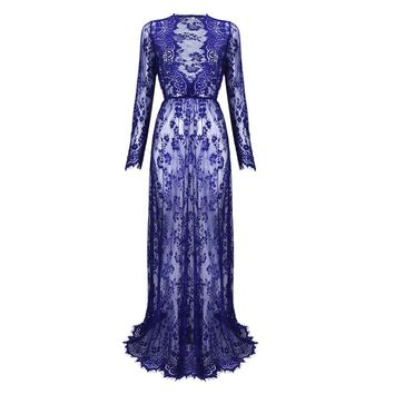 2018 Maternity Sexy Deep V Neck Glamour See-through Hollow Lace Long Maxi Dress Beach Dress