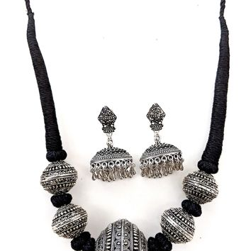 Dori thread Oxidized Ball charm Necklace and Earring set
