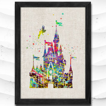 Cinderella Disney Princess Castle Watercolor Art Print Home Decor Giclee Wall Art Poster Wall Decor Art Home Decoration Linen Poster CAP13