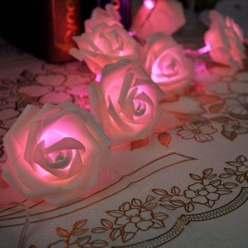 20LED Rose Flower Fairy String Lights Wedding Garden Party Christmas Decoration Night light bedroom lamp [8295206919]