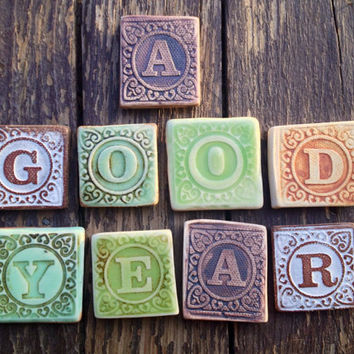 Tiny Ceramic Letter Magnets Made from Vintage Blocks Ready to Ship