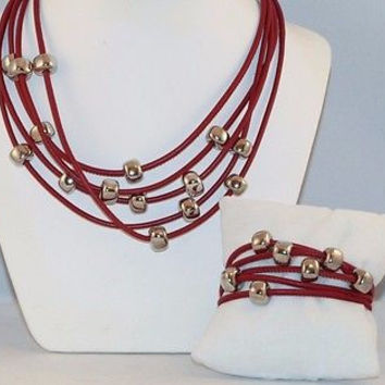 Italian Red Leather Necklace & Bracelet 5 Strand Silver Cubes, Magnetic Closure