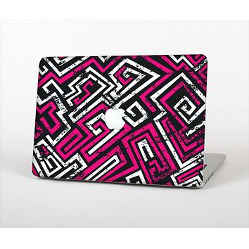 The Pink & White Abstract Maze Pattern Skin Set for the Apple MacBook Air 11""