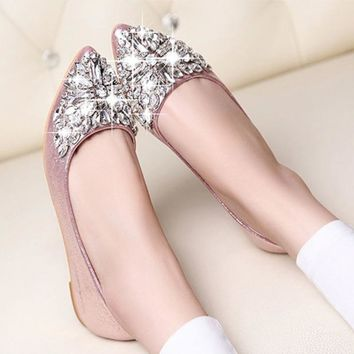 Rhinestone pointed toe flat heel shoes woman single shoes women fashion women flat shoes *35