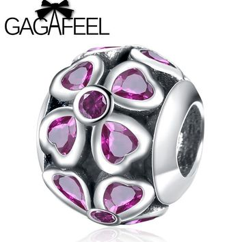 GAGAFEEL Purple Lucky Clover Charm Beads Fit Original Bracelet Necklace Real 925 Sterling Silver Beads For Jewelry Making