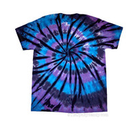 Blue Purple Black Spiral Tie Dye Shirt by TieDyeBySandy on Etsy