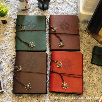 Classic Vintage Refillable Traveler's Anchor Leather  Photo Album