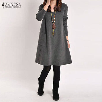ZANZEA Autumn Winter Long Blusas 2016 Women Long Sleeve Pocket Dress Solid O Neck Casual Loose Dresses Vestidos Plus Size S-5XL