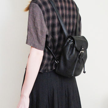 Vintage 90's Black Leather Mini Backpack